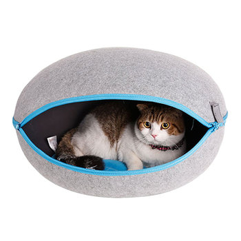 Cat Cave House Puppy Soft Pet Sleeping Bed Mat Kitten Nest Natural Wool Egg Shape Cat House with Removable Cushion