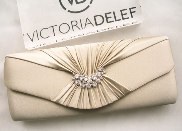 Elegant Champagne Color Clutch Pleated Silk Iber Day Banquet Bag Satin Fabric
