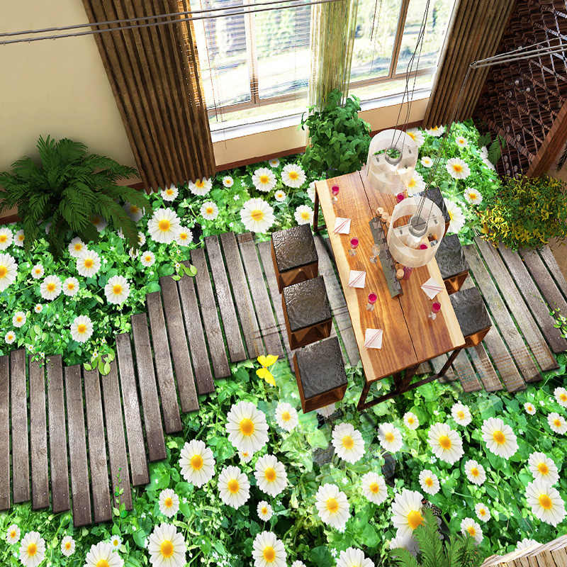 מותאם אישית קיר טפט 3D פרחים נתיב עץ גשר מרצפות ציור מדבקת מרפסת סלון PVC עמיד למים קיר ניירות