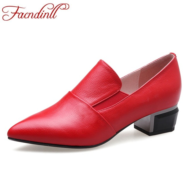FACNDINLL shoes 2018 spring autumn women pumps genuine leather middle heels pointed toe red shoes woman dress office date facndinll women pumps fashion middle heels pointed toe shoes woman square toe shoes ladies offcie dress casual date woman pumps