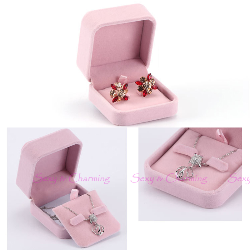Fashion Lovely Pink Luxury Flannelette Wedding Gift Box for Jewelry Hoop Drop Earrings Storage Display Packaging Boxes Case No.2