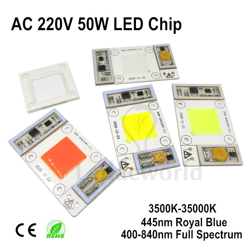 AC220V 50W LED Bulbs Chip For Plant Grow Light Full Spectrum 400nm-840nm, 3000K-35000K Warm White Cold White Excellent Quality 2pcs 30mil 10w 660nm plant grow lights led chip dc6 7v 1000ma excellent quality light source for plant grow faster and batter