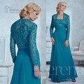 Encaje azul lf2739 madre de novia juegos de bragas Plus Size con cuentas de noche de gasa pantalones vestidos con chaqueta Vestido de madrina 2016