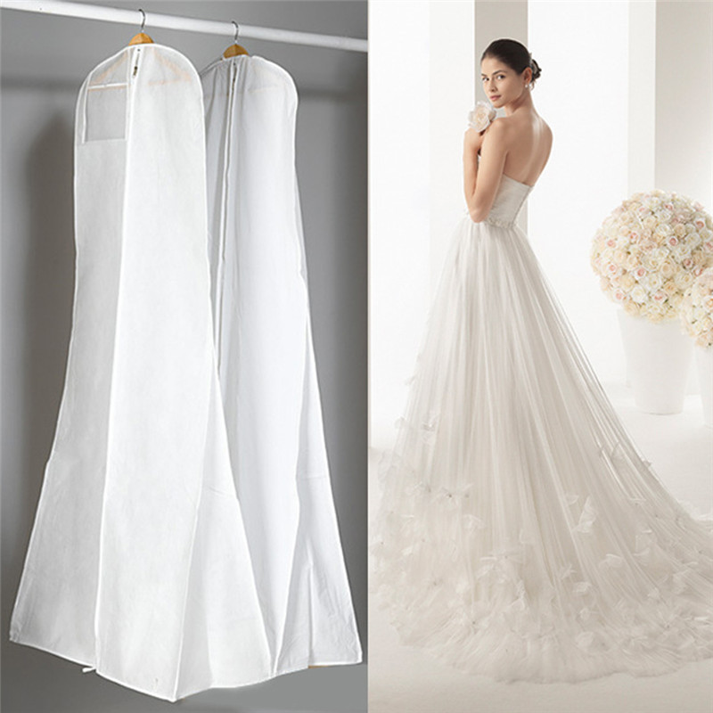 Extra Grande Roupas de Vestuário vestido de Noiva Longo Protetor Caso Tampa À Prova de Poeira Cobre Saco De Armazenamento Do Vestido de Casamento 2018 Novo Por Atacado