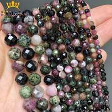 AAA – perles en pierre naturelle Tourmaline colorée à facettes, pour la fabrication de bijoux, Bracelet et collier, bricolage, 15 ''4/6/8/10mm