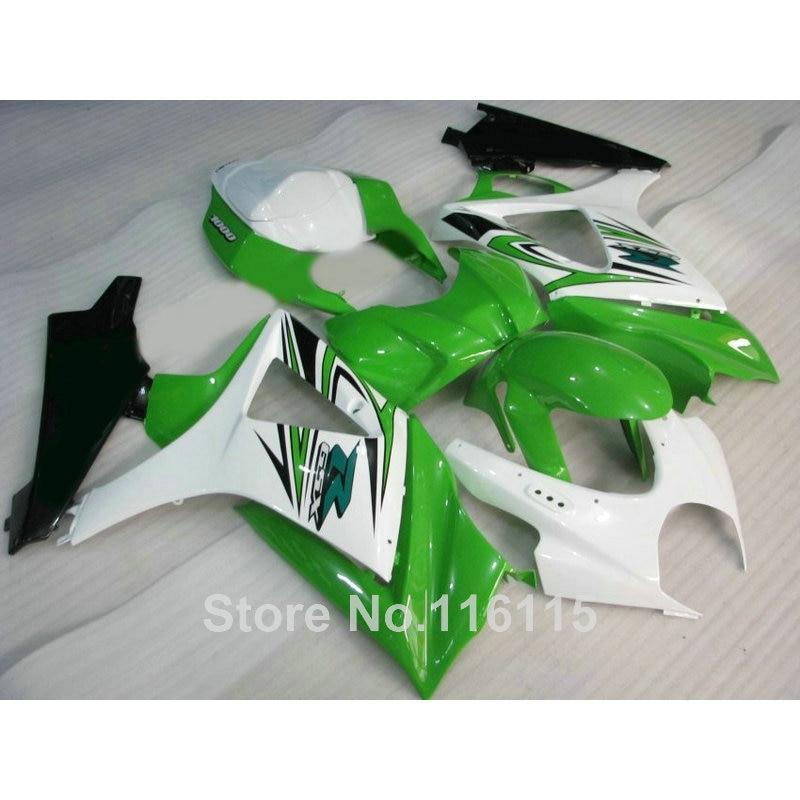 ABS Motorcycle parts for SUZUKI GSXR 1000 K7 K8 07 08 fairing kit GSXR1000 2007 2008 white green black fairings set JS99