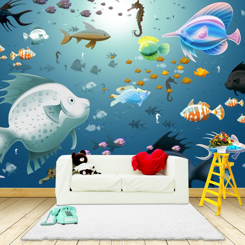Photo wallpaper 3d sea view wall painting children 39 s room for 3d aquarium wallpaper for bedroom