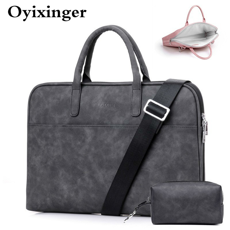 Men Black Leather Briefcase Designer For Luxury Handbags Women Pink Red 13 14.1 15 15.6 13.3 Messenger Bags With Small Power Bag