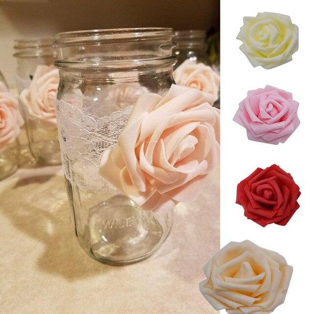 30 pz Artificiale 8 cm PE della Gomma Piuma della Rosa Teste di Fiore di Nozze B