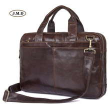 J.M.D Classic Design Genuine Vintage Leather Men Briefcase Multifunction Handbag Multi-Compartment Messenger Bag7092-2C