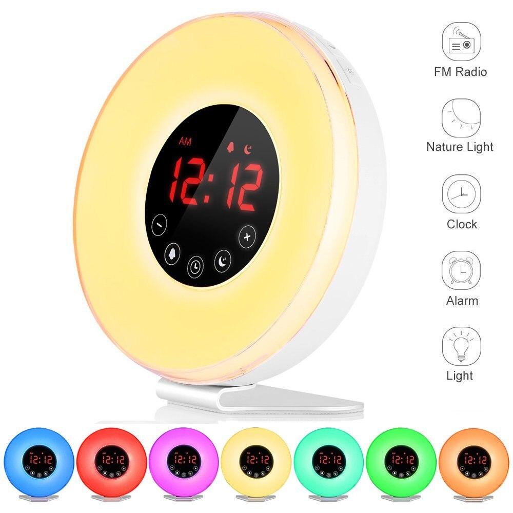 Alarm Clock 2017 Wake Up Light Digital Alarm Clock with 7 Sounds 7 Colors Sunrise Sunset Simulation Night Light US UK EU Plug novelty run around wake up n catch me digital alarm clock on wheels white 4 aaa