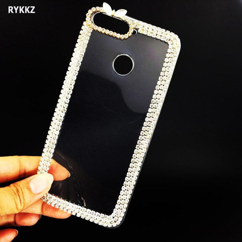 Cas Sur L'honneur 7a Por Bling Cristal Diamants Doux TPU Cas pour Huawei 7 Un Pro Honor7a Pro 7 apro De Luxe Transparent Retour couverture