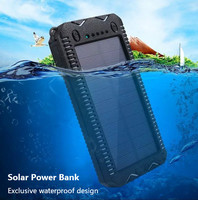 New Solar Power Bank Charger Dual USB Polymer Battery 20000mAh Lighter Large Capacity Mobile Power Outdoor