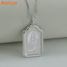 Anniyo Jesus Necklace Pendant Silver Color Emmanuel/Immanuel Jewelry Women Men,God Bless Jewellery Christian Baptism(China)