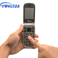 cell phone screen YINGTAI T09 Best feature phone GSM Big push-button flip phone Dual Screen clamshell 2.4 inch Elder telephone cell phones FM MP3 (5)