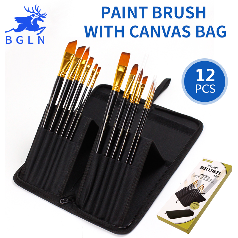 Bgln 12Pcs Bristle Nylon Hair Professional Oil Paint Brush Set With Canvas Bag Oil Painting Brush Art Supplies BM-A0085 bgln 12pcs set bristle hair flat oil painting brush mix size solid wood pole artist oil acrylic paint brush art supplies