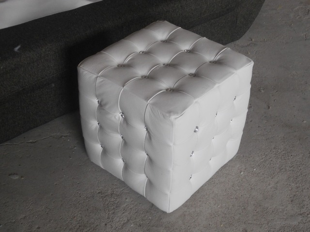 Rectangle White Color Modern Style Top Graded Cow Real Leather Ottoman Stool Living Room Home