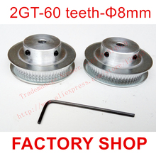 factory outlet store 2pcs 60 teeth Bore 8mm GT2 Timing Pulley fit width 6mm of 2GT timing Belt 3D Free shipping