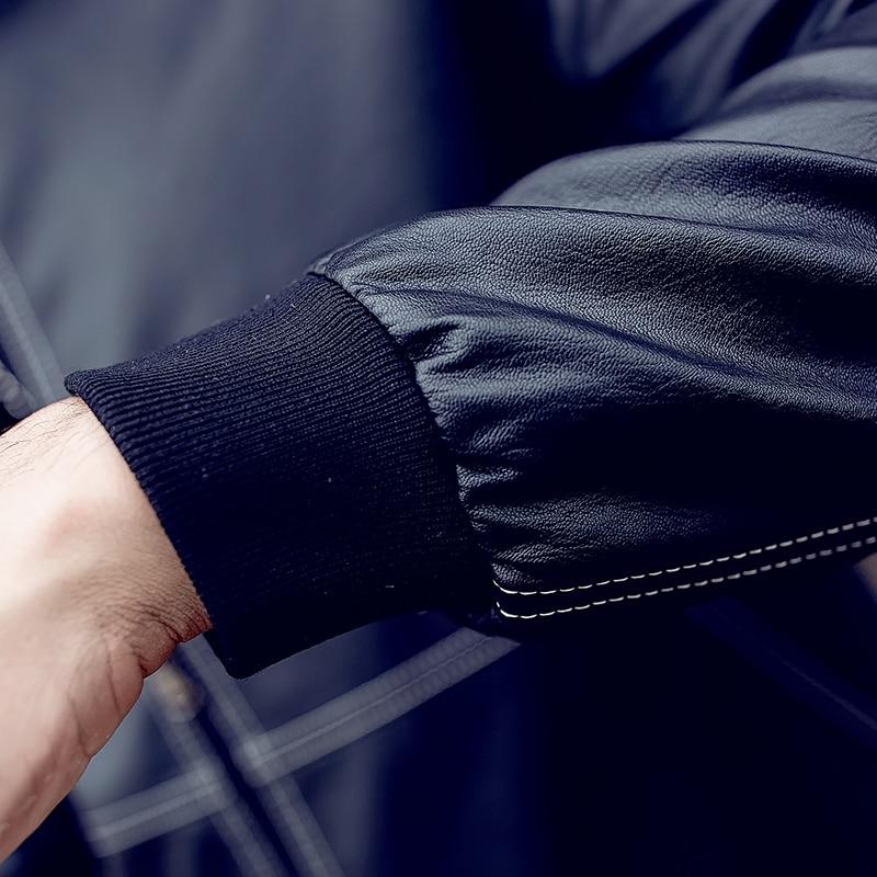 QIMAGE motociklų odinės striukės Vyriškos mados žieminės - Vyriški drabužiai - Nuotrauka 5