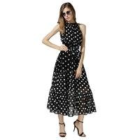 2015 Summer Dress Large Size Dot Chiffon Dress Bohemian Beach Dress Polka Dot A Long Skirt