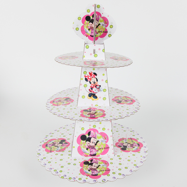 Minnie Mouse Birthday Decoration Cardboard Cupcake Stand Baby Shower Party Stander Cartoon Cake Dessert Candy