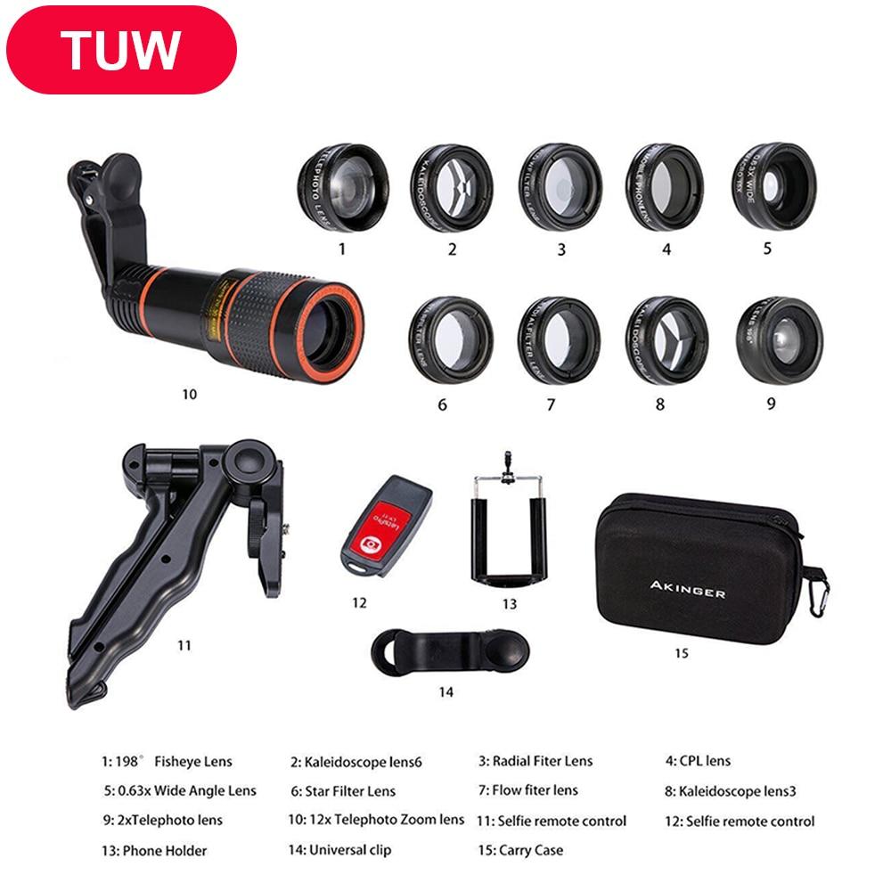 2018 New Convenient Camera lens 13 in 1 Akinger mobile phone lens Kit Fisheye Wide Angle macro 12X telescope for smartphones