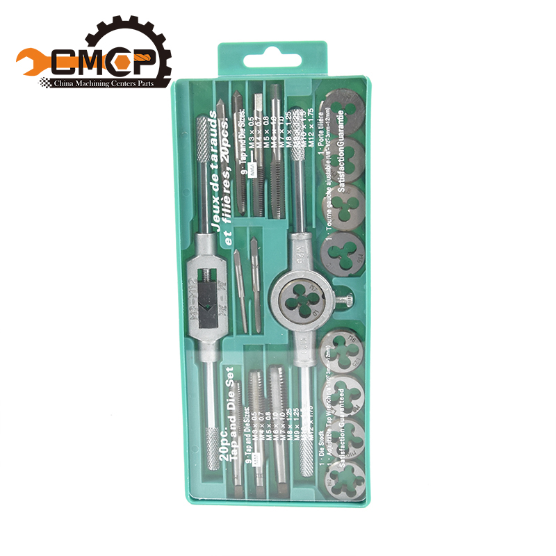 Hand Tools 20pcs High Quality Tap And Die Set Metric Thread Tap And Dies Adjustable Tap Wrench1/8-1/2 3mm-12mm(China)