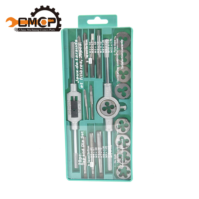 Hand tools 20pcs high quality tap and die set metric thread tap and dies adjustable tap wrench1/8-1/2 3mm-12mm