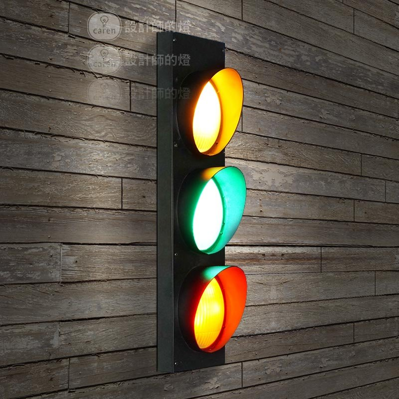 Retro Wrought Iron Traffic Lights Wall Lamps Vintage