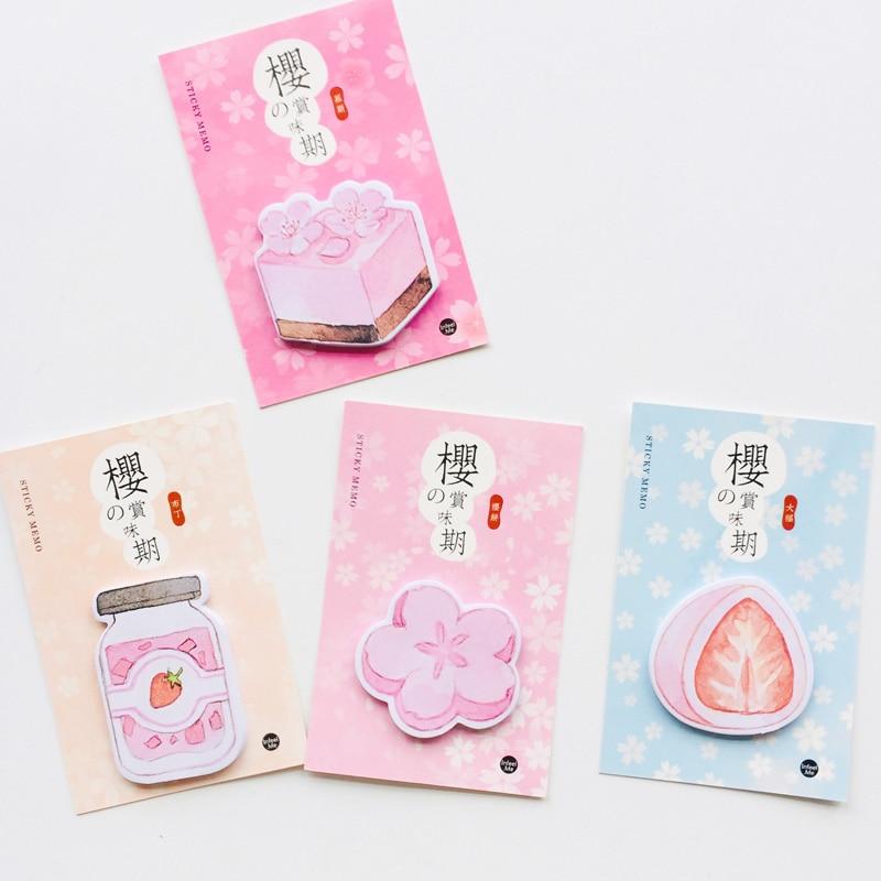 30 Sheets Sakura & Strawberry Cake Memo Pads Plan Message Writing Sticky Notes Marker Stick Label School Office Supply
