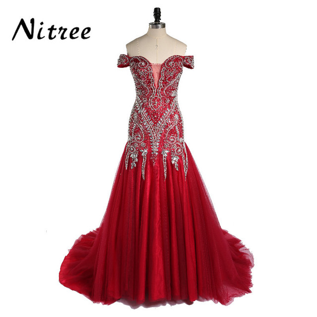 Gorgeous Crystals Long Evening Dress Mermaid Sexy Sweetheart Bling ...