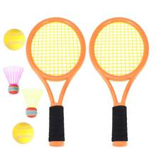 1 Pair of Racket Durable ABS Parent-child Funny Safe Tennis Tools Badminton Rackets Game Props for Sports School Beach Outdoor(China)