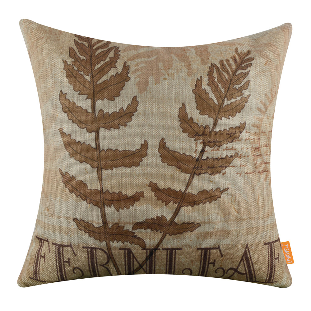 LINKWELL 18x18 inches Pillow Case Burlap Cushion Cover Vintage 2017 Most Popular Trend Fern Leaf Brown Color Vascular Plants