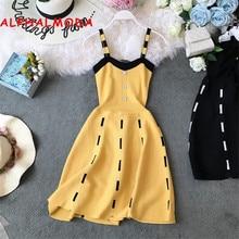 ALPHALMODA Knitted Suspender Dress Single Breasted High Waist Slim Waist A line Chic Short Summer Knit Sundress for Women 2019