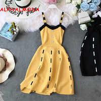 ALPHALMODA Knitted Suspender Dress Single Breasted High Waist Slim Waist A-line Chic Short Summer Knit Sundress for Women 2019