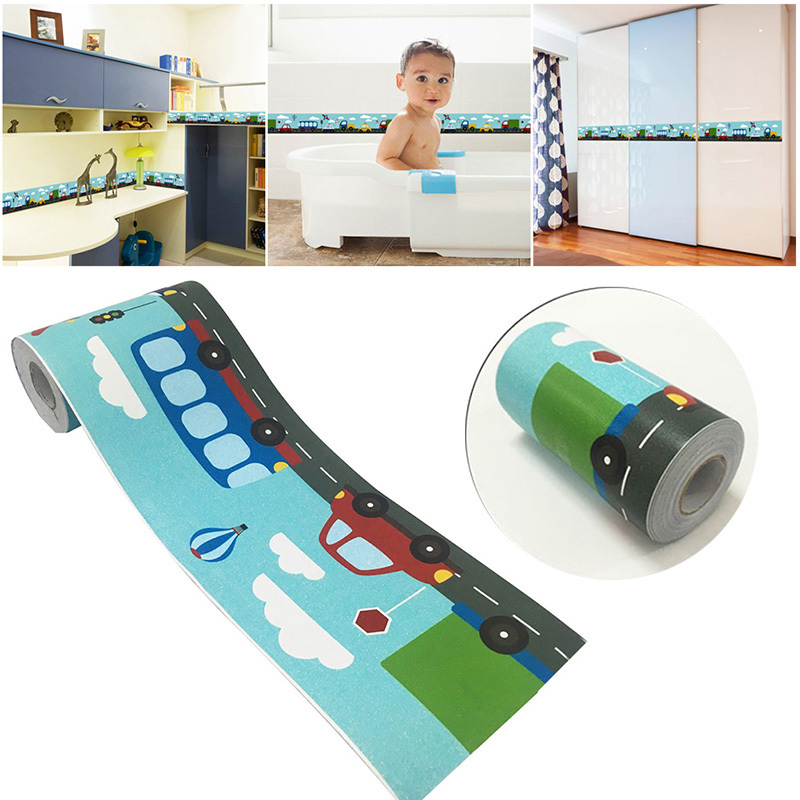 10M Cartoon Waist Wall Stickers Self-adhesive Wall Corner Wall Sticker Cute Tile Stickers For Kids Room Kitchen Bathroom Office