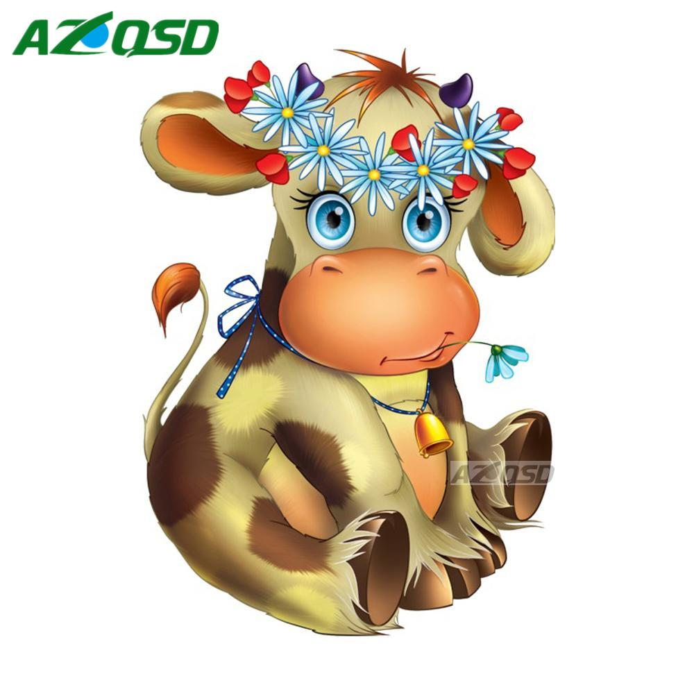 AZQSD DIY Diamond Painting Cross Stitch Kit For Wall Decor Full Round Diamond Embroidery Kit Cartoon Cows Boy yz1274