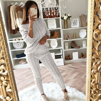Womens Ladies Solid Off Shoulder Cable Knitted Warm 2PC Loungewear Suit Set Knit pant Sporting suit Female