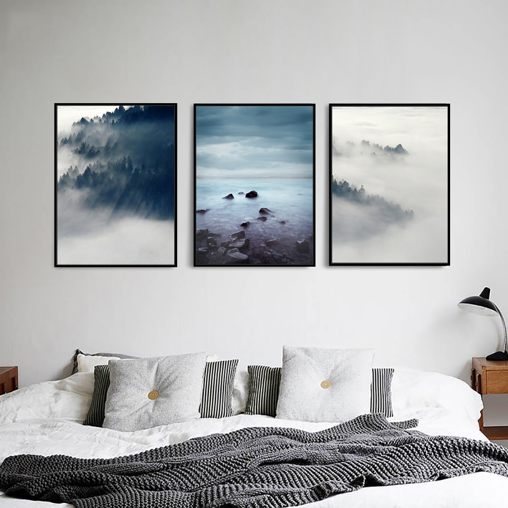 SIMPLE Poster Nordic Canvas Painting beach landscape ... on Room Decor Posters id=82859