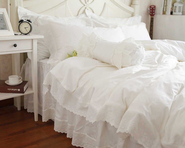 beautiful white queen size beds from us stores | Aliexpress.com : Buy Solid White Lace Embroidery Cotton ...