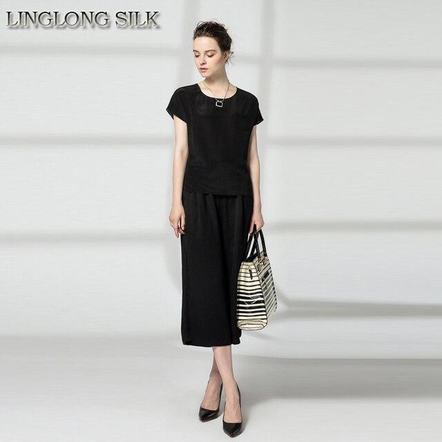 Silk Bat Shirt-M/L/XL Size 100%Pure Natural Silk Fabric New Desigual Women Tops New Spring Summer Factory Direct With Woven Belt