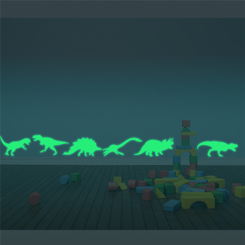 9Pcs Glow In The Dark Dinosaurs Toys Stickers Ceiling Decal Baby Kid Room 3