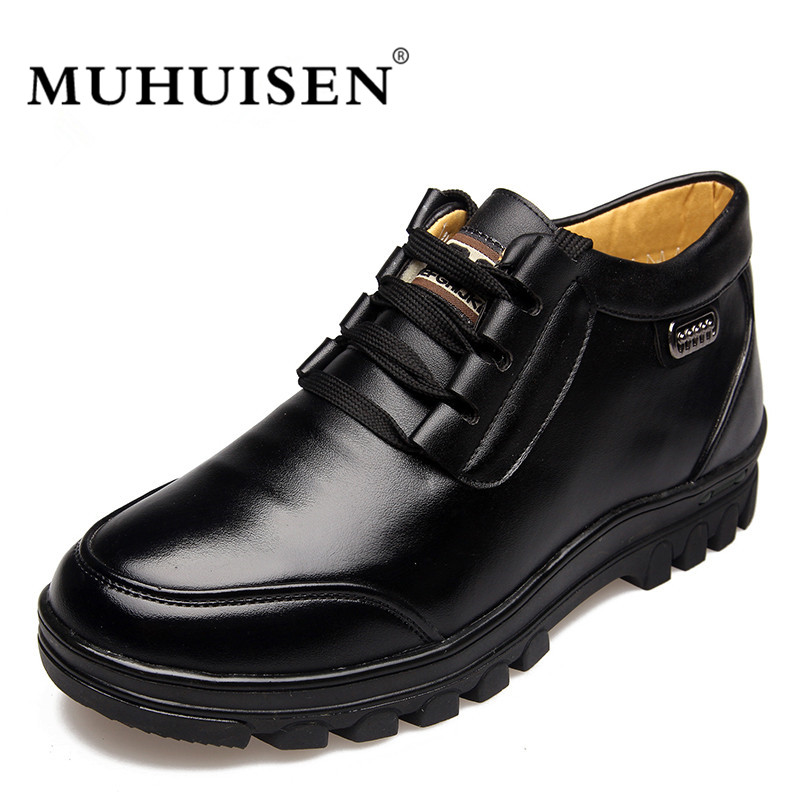 MUHUISEN Top Quality Genuine Leather Shoes Men Casual Flat Winter Plush Warm Fur Slip On Shoes Comfortable Male Lace-Up Footwea