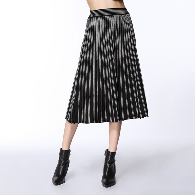 2018 spring sweater knitting womens new fashion color long waisted pleated skirt knitted skirt European style warm soft onesize