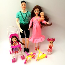 Toys Family 5 People Dolls Suits 1 Mom /1 Dad /2  Kelly Girl /1 Baby doll/1 Baby Carriage Real Pregnant Doll Gifts For Barbie bjd doll 6pcs happy family kit toy dolls pregnant big belly dolls family suit pregnancy doll playsets toys for girls baby doll