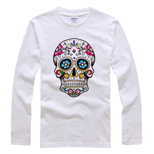 2016 New 100% Cotton Men's Long sleeves Fashion T Shirt Autumn Style Skulls Printing Pure Color