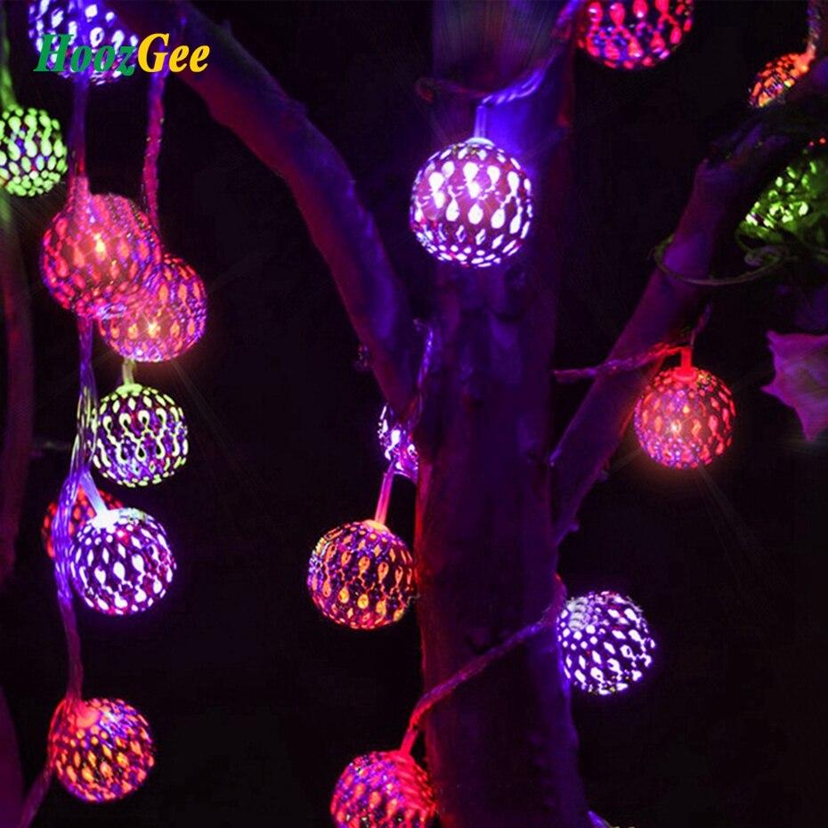 HoozGee солнечного света строки Открытый 20 <font><b>LED</b></font> Moroccan Щепка металлический шарик сад Патио Декор мечта фея лампы Освещение