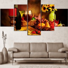 Modular HD Printing Painting 5 Pieces Food Artwork And Drink Wine Poster Home Decorative Modern Living Room Or Bedroom Framework