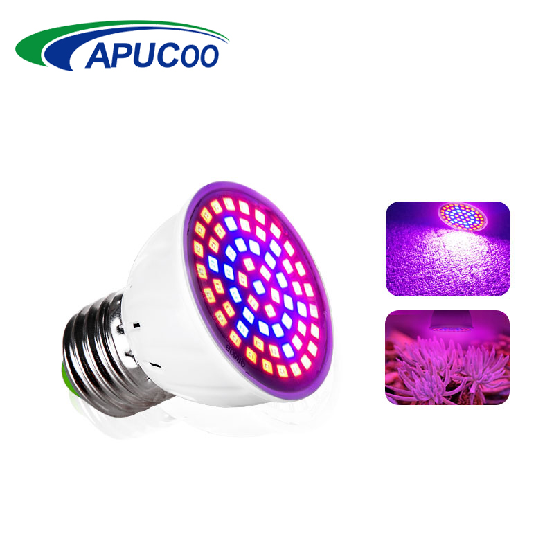 LED Grow Light Lamp E27 220V Full Spectrum Phyto Lamp 60LEDs 41 Red 19 Blue Indoor Plant Lamp For Plants Vegs Hydroponic System 290 led plant grow light e27 200 led growing lights bulb full spectrum indoor plant lamp for plants vegs hydroponic system