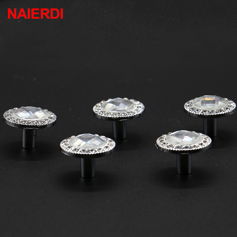 5PCS NAIERDI Crystal Glass Handles Cabinet Pull Knobs Clear Diamond Shape Cupboard Handle With Screw For Furniture Hardware css clear crystal glass cabinet drawer door knobs handles 30mm